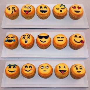 Emoji themed cupcakes using American Buttercream