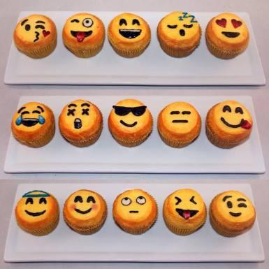 Emoji themed cupcakes using American Buttercream