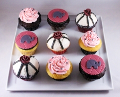 Light pink, fuchsia, grey, white, and black color scheme. Elephant themed baby shower