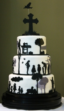 Remembrance Cake: Fondant wrapped cake with fondant custom designed silhouettes